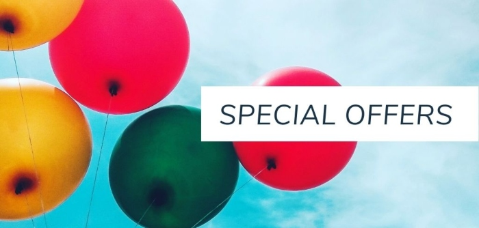A photo of balloons with the text Special Offers.